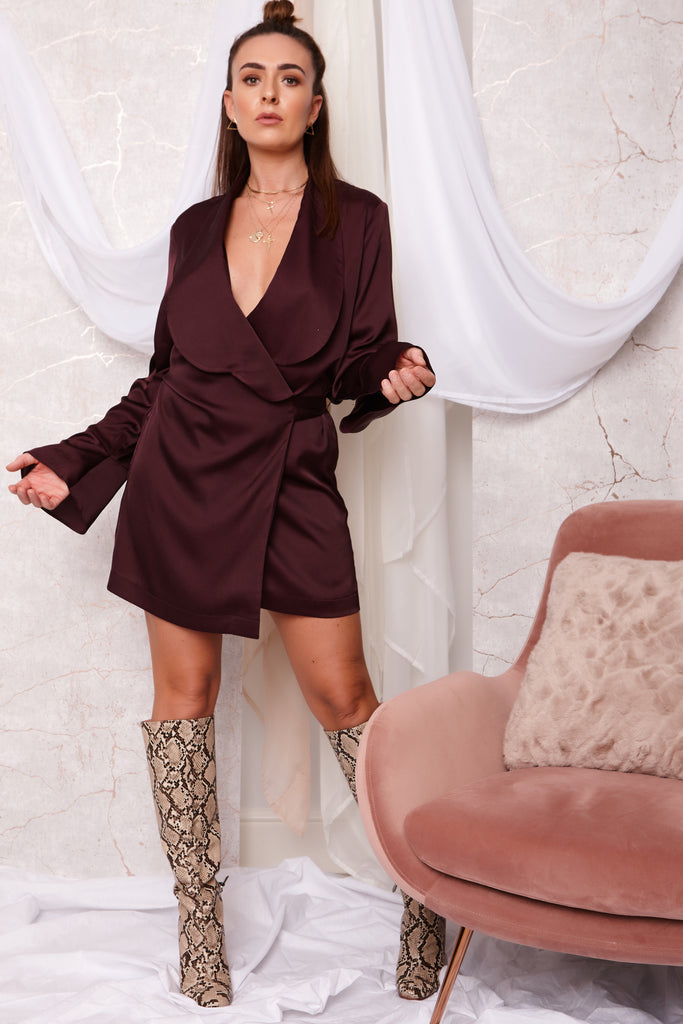 WRAP DRESS BURGANDY