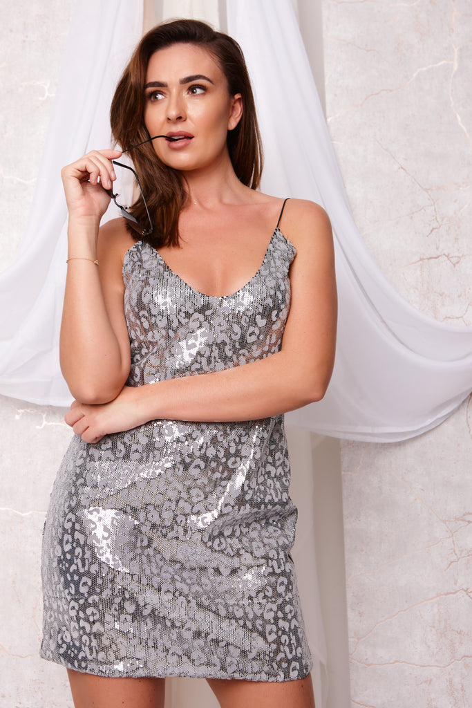 ROBBIE SEQUIN SLIP DRESS