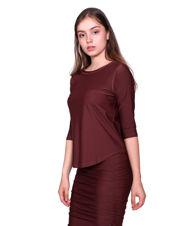 3/4 Sleeve Active/Swim Shirt, Burgundy