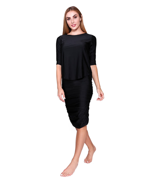 Shirred Straight Active/Swim Skirt, Black
