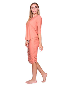 Shirred Straight Active/Swim Skirt, Coral