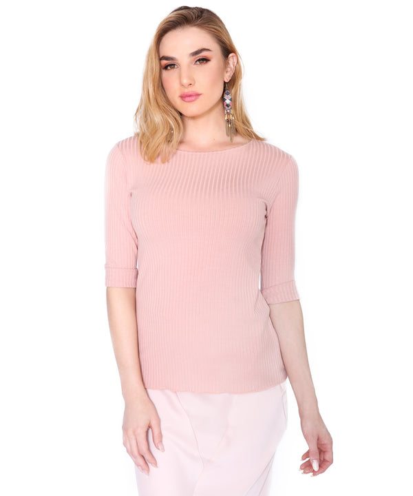 Basic Ribbed 3/4 T, Blush
