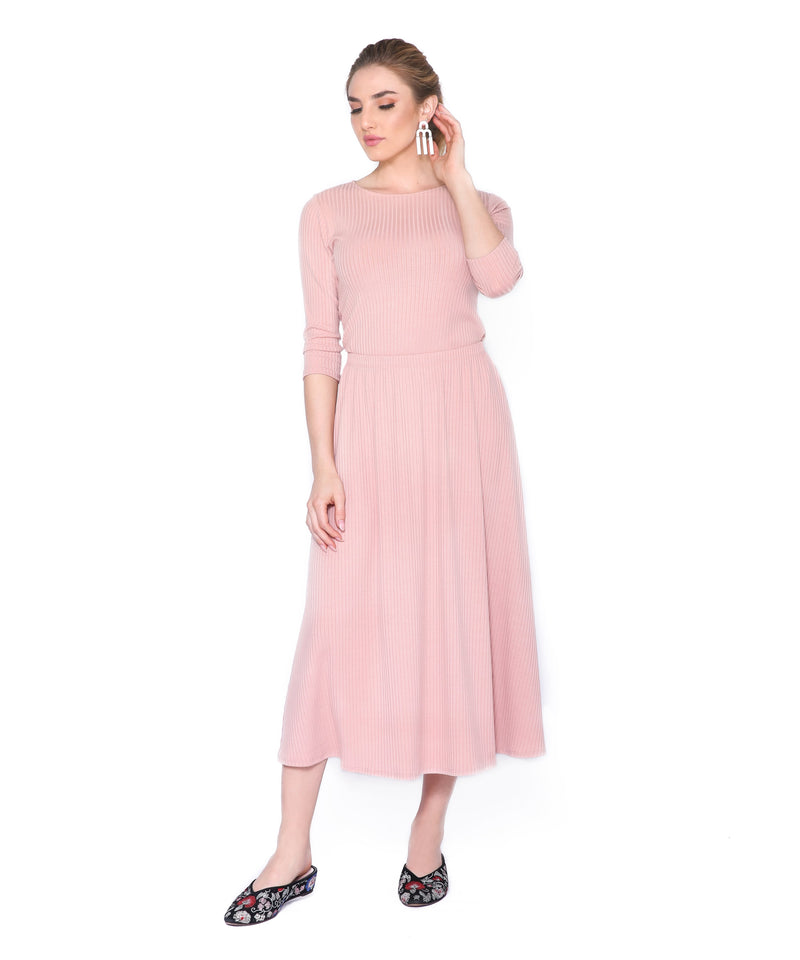 Basic Ribbed Skirt, Blush