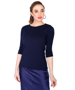 Basic Ribbed 3/4 T, Navy