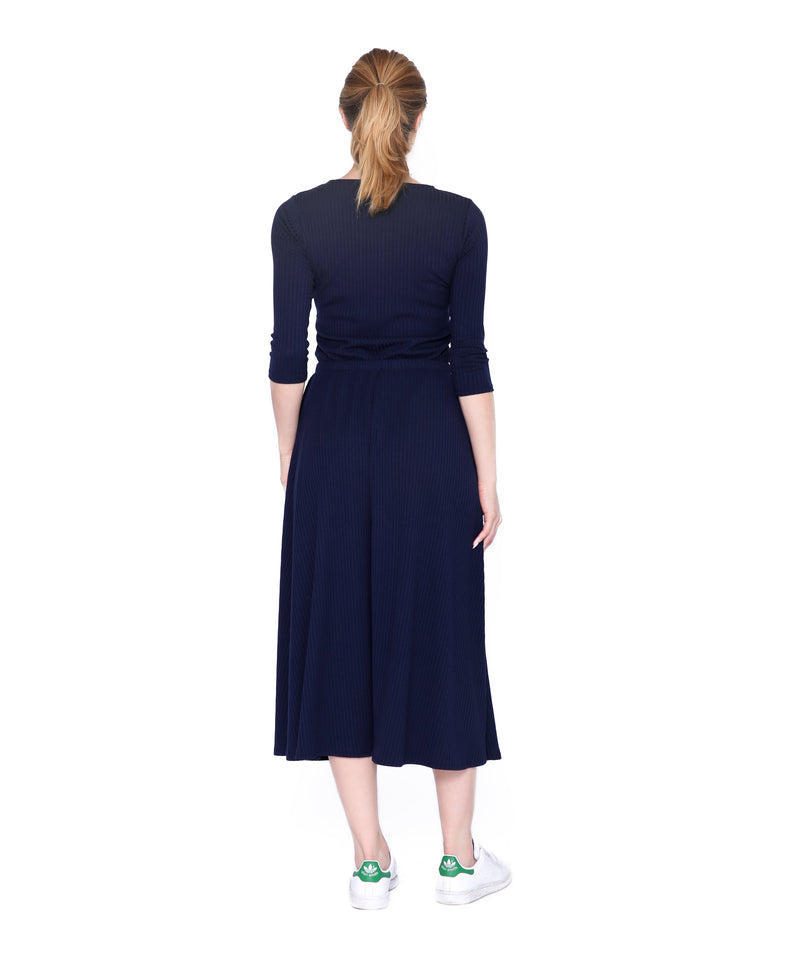 Basic Ribbed Skirt, Navy
