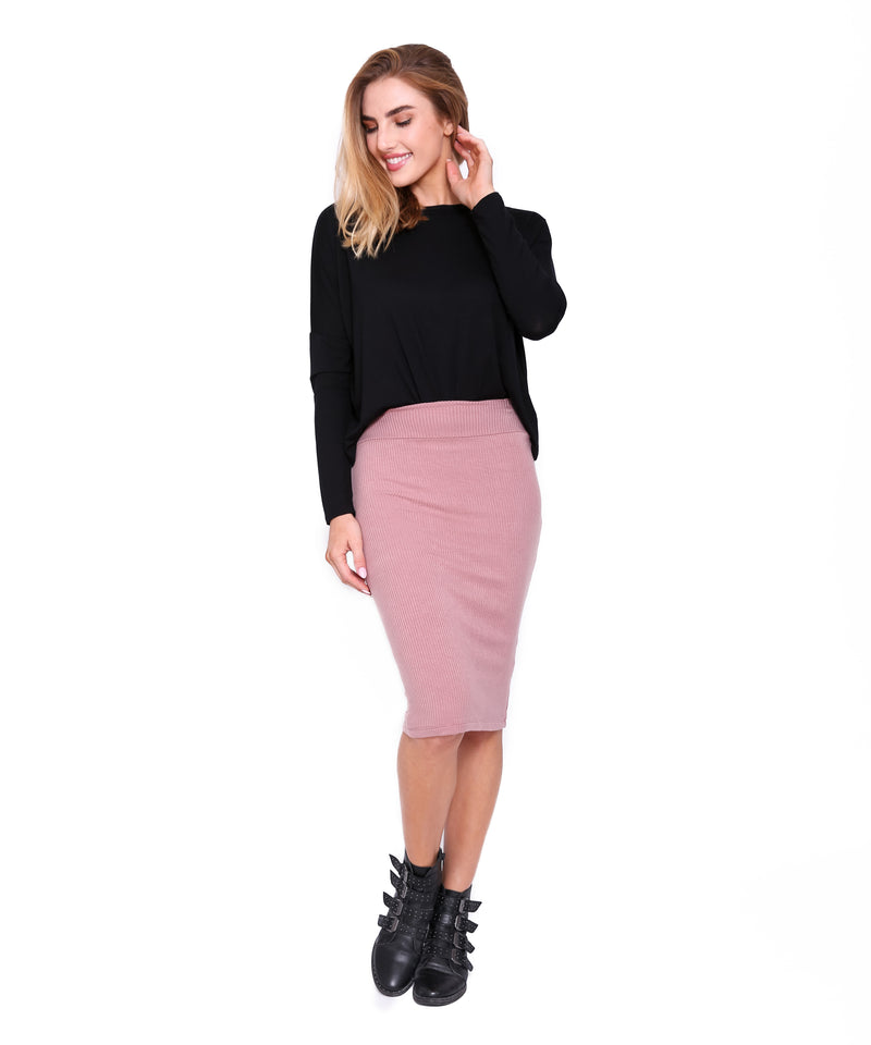 Knee Length Ribbed Tube Skirt, Mauve