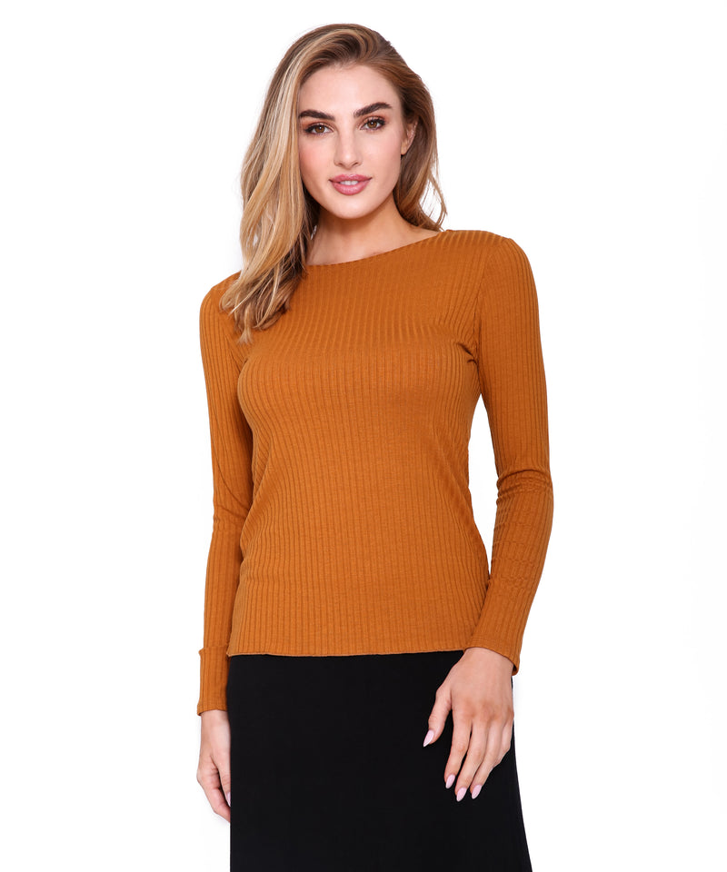Basic Ribbed Long Sleeve T, Gold