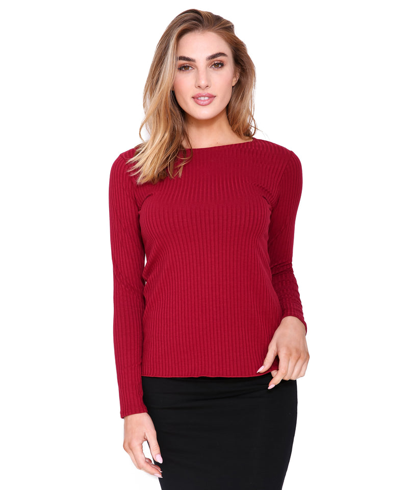 Basic Ribbed Long Sleeve T, Berry