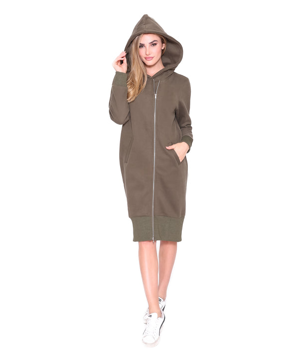 Zipper Hoodie Dress, Army