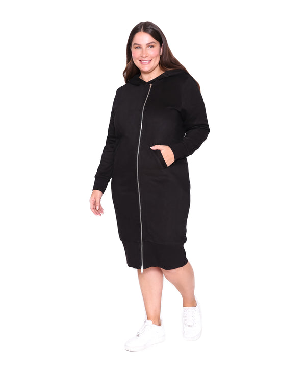 Zipper Hoodie Dress, Black