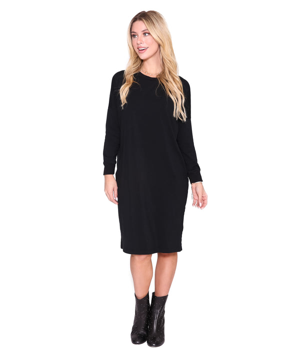 Long Sleeve T Dress, Black