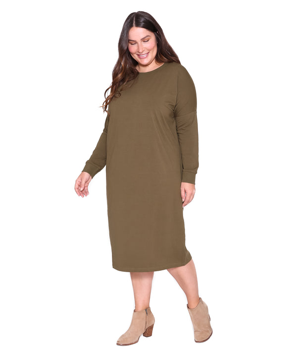 Long Sleeve T Dress, Olive