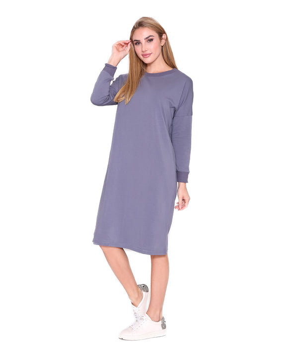 Long Sleeve T Dress, Slate