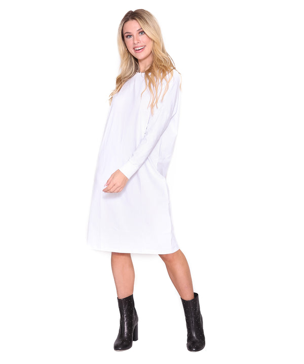 Long Sleeve T Dress, White