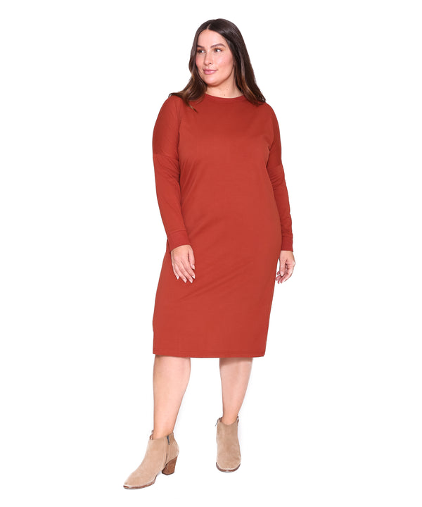 Long Sleeve T Dress, Cinnamon