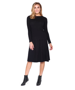 Basic Ribbed Long Sleeve T, Black