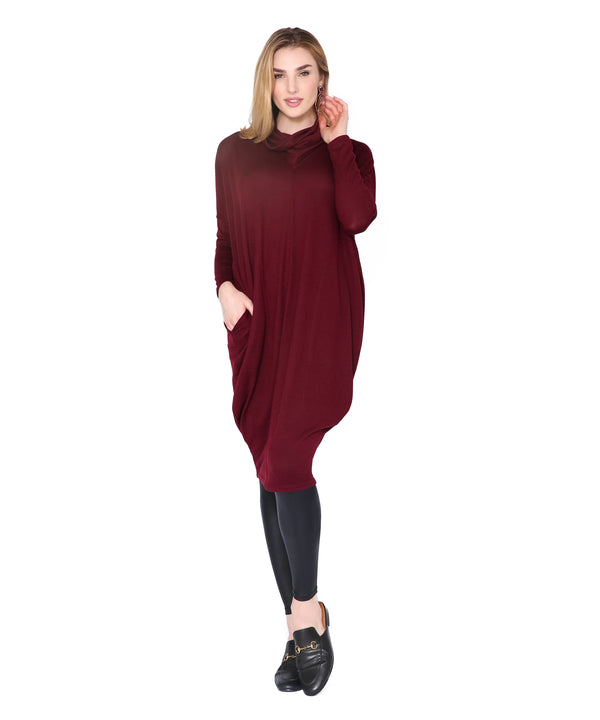 Cozy Sweater Dress, Merlot