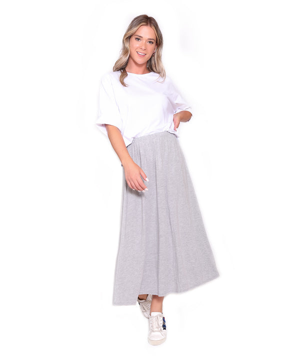 Basic Midi Skirt, Heather Grey