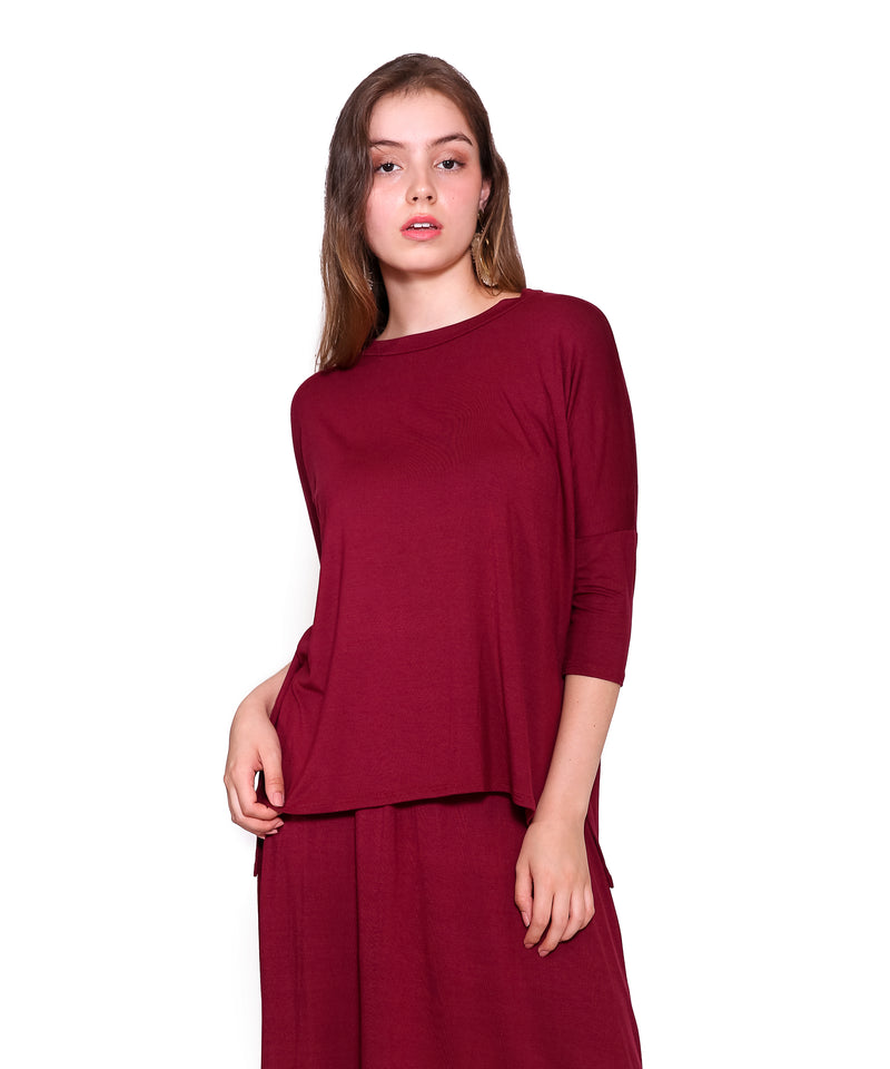 Base T-Shirt 2.0, Burgundy- 3/4 Sleeve