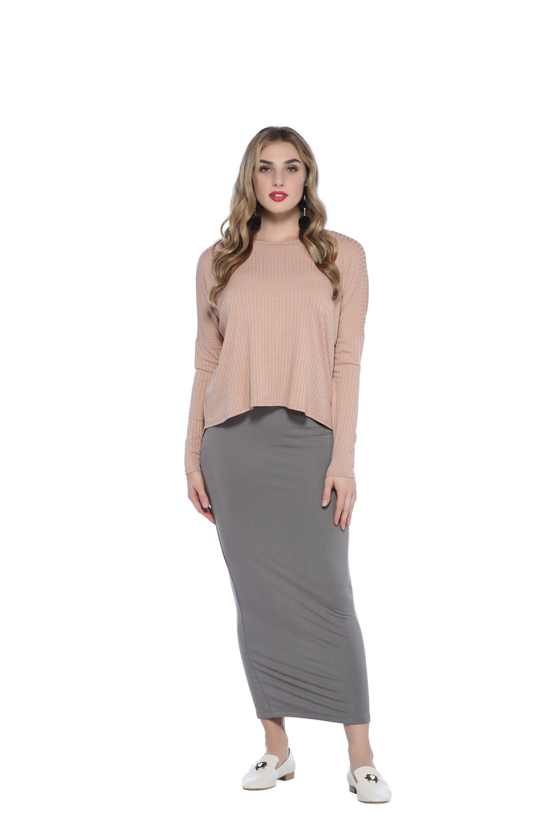 Ankle Tube Skirt, Taupe