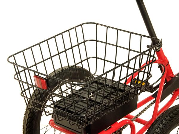 A large rear sturdy basket is large enough to carry almost anything.