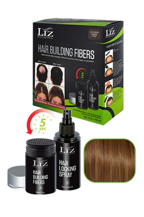 LIZ Hair Building Fibers& Locking Spray Light Brown