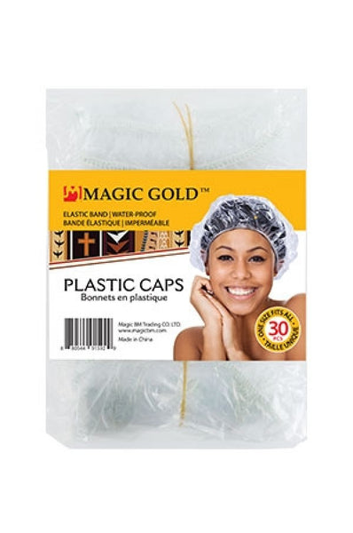 Magic Gold Clear shower cap 30pcs #1592