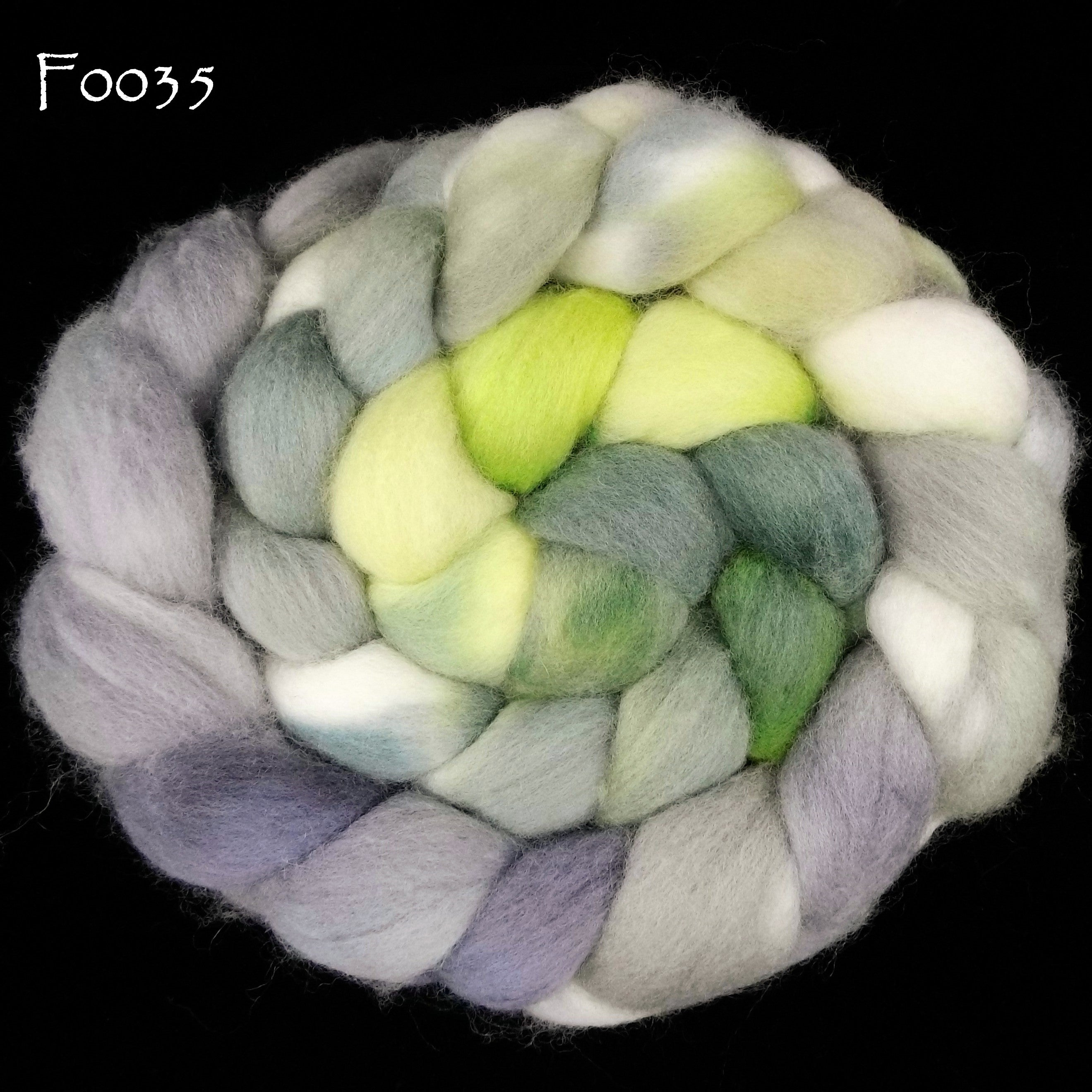 Organic Polwarth Wool Painted Top, 4 oz braid