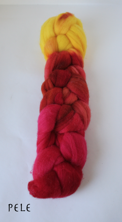 Targhee Wool Painted Top for spinning or felting, 2 ounce braids