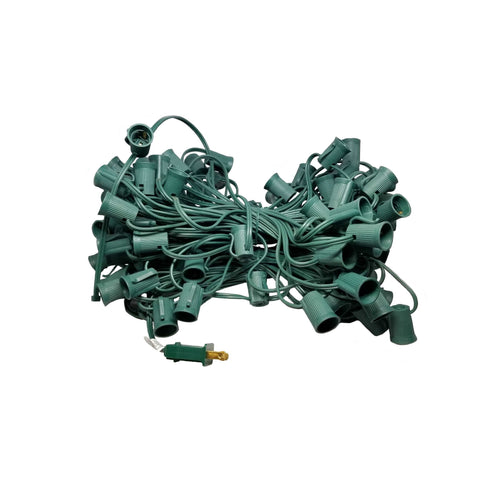 "Seasonal Source - C9-100-G - C9 Light String, 100' Length, 12"" Spacing, Green Wire"