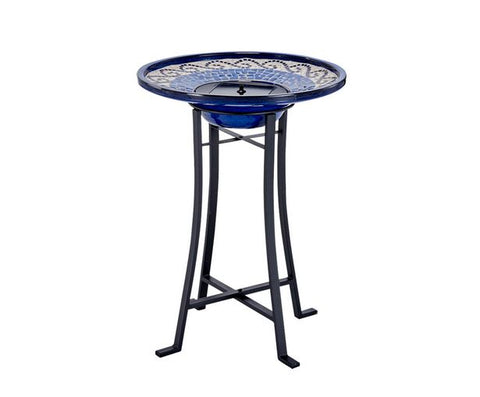 Smart Living Home and Garden - 20747R01 - Mosaic Solar Birdbath with Metal Stand - Glazed Ceramic