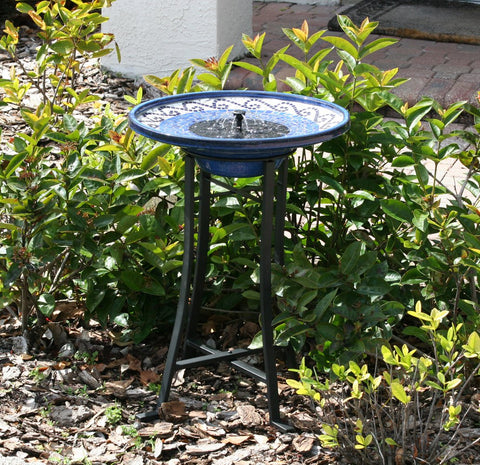 Smart Living Home and Garden - Mosaic Solar Birdbath with Metal Stand - Glazed Ceramic