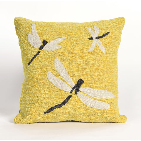 "Liora Manne - 7FP8S141509 - Frontporch Dragonfly Indoor/Outdoor Pillow Yellow 18"" Square - Liora Manne"