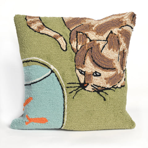 "Liora Manne - 7FP8S143006 - Frontporch Curious Cat Indoor/Outdoor Pillow Green 18"" Square - Liora Manne"