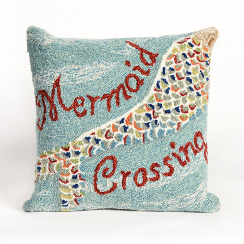 "Liora Manne - 7FP8S144803 - Frontporch Mermaid Crossing Indoor/Outdoor Pillow Blue 18"" Square - Liora Manne"