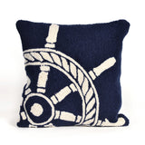 "Liora Manne - 7FP8S145633 - Frontporch Ship Wheel Indoor/Outdoor Pillow Navy 18"" Square - Liora Manne"