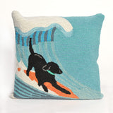 "Liora Manne - 7FP8S147304 - Frontporch Surfing Dog Indoor/Outdoor Pillow Blue 18"" Square - Liora Manne"