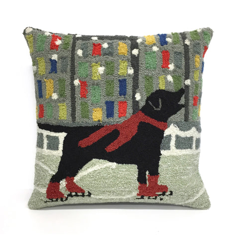 "Liora Manne - 7FP8S152624 - Frontporch Holiday Ice Dog Indoor/Outdoor Pillow Red 18"" Square - Liora Manne"