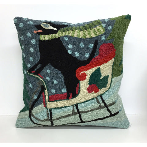 "Liora Manne Frontporch - 7FP8S156444 - Sledding Dog Indoor/Outdoor Pillow Multi 18"" Square"