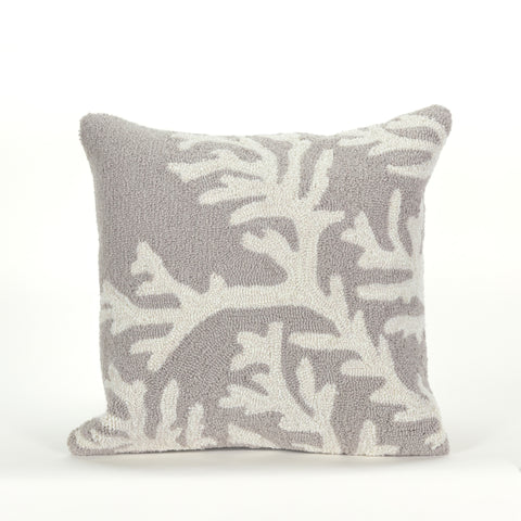 "Liora Manne - 7FP8S162047 - Frontporch Coral Indoor/Outdoor Pillow Grey 18"" Square - Liora Manne"