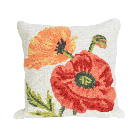 "Liora Manne - 7FP8S227212 - Frontporch Icelandic Poppies Indoor/Outdoor Pillow Natural 18"" Square - Liora Manne"