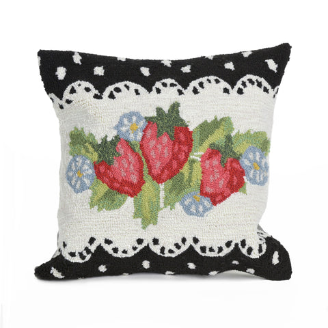 "Liora Manne - 7FP8S240648 - Frontporch Strawberries Indoor/Outdoor Pillow Black 18"" Square - Liora Manne"