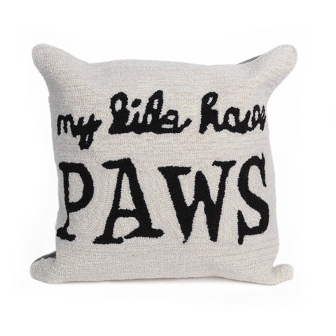 "Liora Manne - 7FP8S426812 - Frontporch My Kids Have Paws Indoor/Outdoor Pillow Natural 18"" Square"