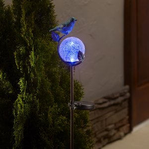 Smart Living Home and Garden - Aquarius Birdbath Stake with Glass Orb Solar Light