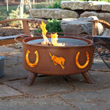 Patina Products - F105 Horseshoes Fire Pit, Natural Patina Rust Finish