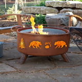 Patina Products - F107 Bear and Trees Fire Pit, Natural Patina Rust Finish