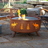Patina Products - F108 Moose & Trees Fire Pit, Natural Patina Rust Finish
