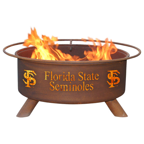 Patina Products - F211 Florida State University, Florida State Seminoles Fire Pit, Natural Patina Rust Finish