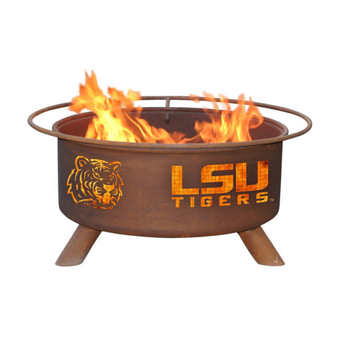 Patina Products - F221 Louisiana State University, LSU Tigers Fire Pit, Natural Patina Rust Finish