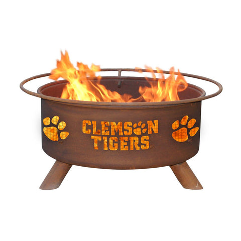 Patina Products - F222 Clemson University, Clemson Tigers Fire Pit, Natural Patina Rust Finish